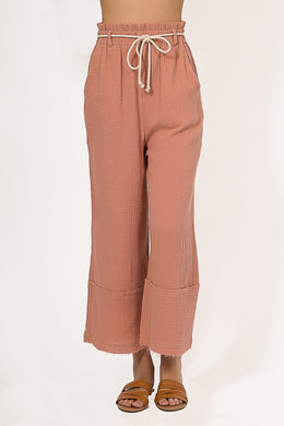 Paper Bag Rust Linen Pants