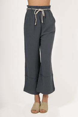 Paper Bag Blue Linen Pants