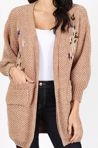 Embellished Open Front Cardigan Sweater