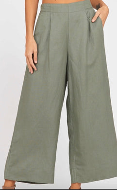 Wide-Leg Pleated Linen Pants Sage