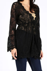 Saffron Fitted Lace Cardigan