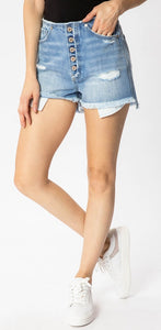 Kancan High Rise Raw Edge Mom shorts
