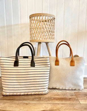 Boho Cream Striped Bag
