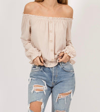 Off The Shoulder Taupe Ruffle Cuffed Top
