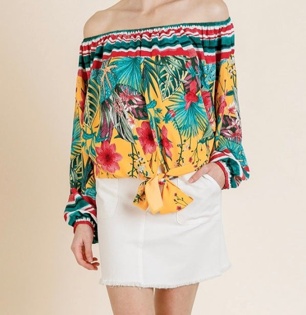 Sunray Tropical Off The Shoulder Top