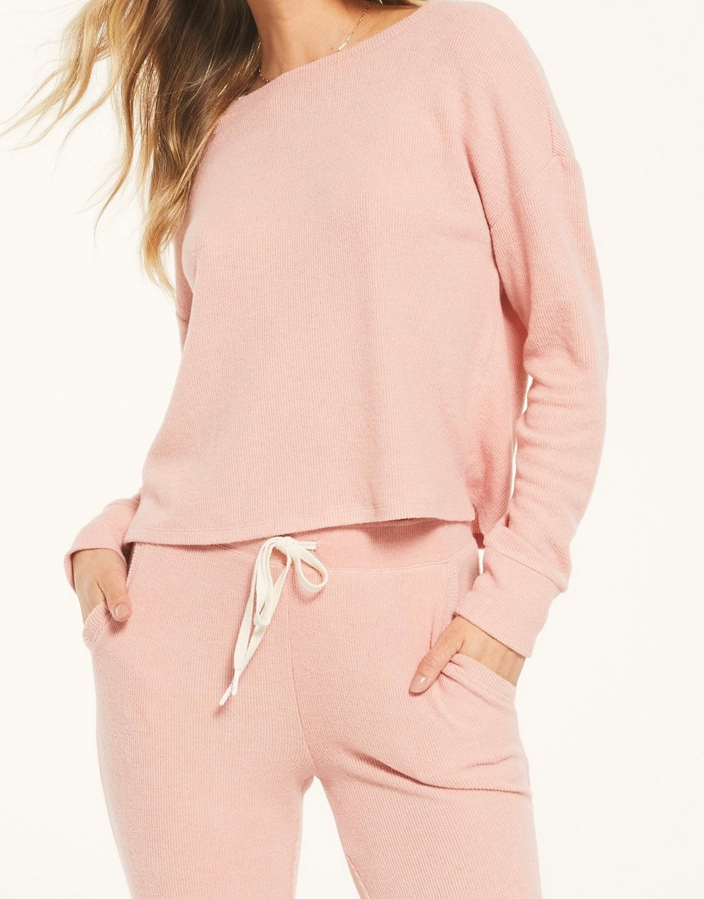Z Supply Rosy Pink Leila Lounge Rib Long Sleeve