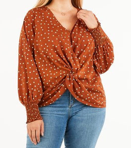 Fabulous Full Size Camden Knotted Dot Blouse