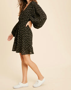 Danny Black V Neck Floral Dress