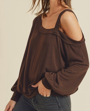 Hacci Mocha Knit One Shoulder Top