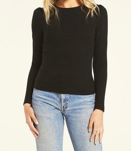Z  Supply Kaiya Rib Black Long Sleeve Top