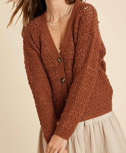 Kai Rust Button Down Cardigan