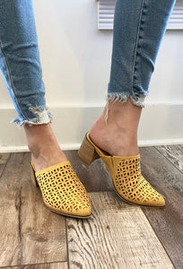 Stephanie Detailed Yellow Mule