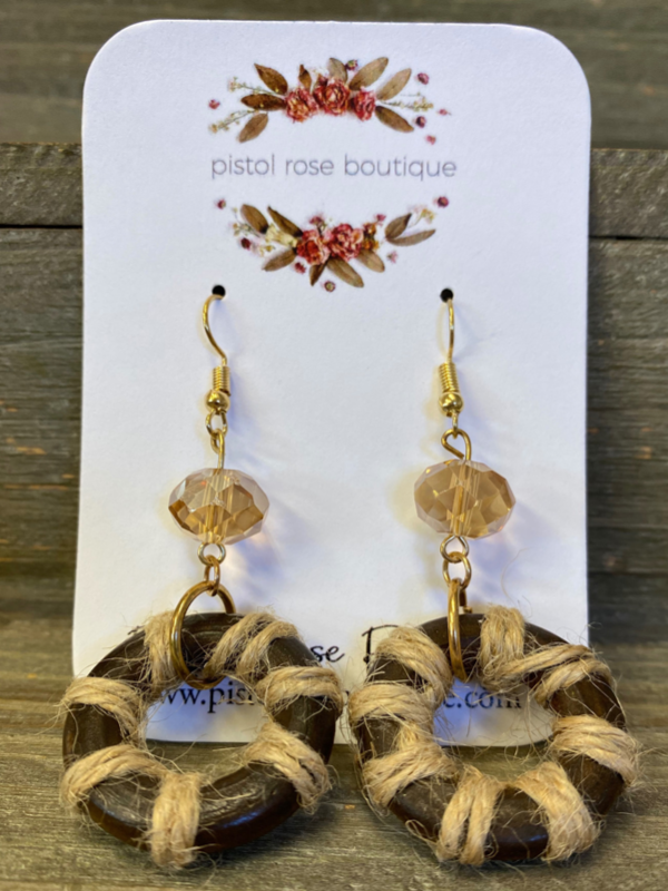 Wood, Rope and Clear Bead Earrings