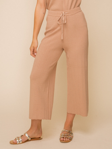 Taupe Zola Wide Leg Sweater Cropped Pants