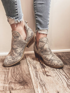 Megan Snake Print Ankle Booties