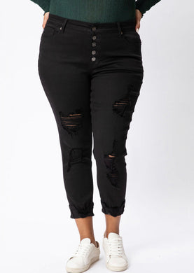 Elli Distressed Bottom Crops