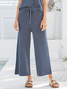 Navy Zola Wide Leg Sweater Cropped Pants