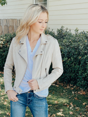 Lolli Cream Suede Moto Jacket