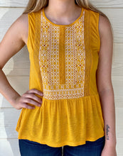 Lucky Golden Embroidered Peplum Top