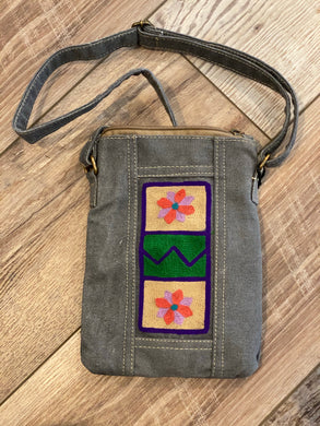 Recycled Canvas Embroidery Crossbody Bag