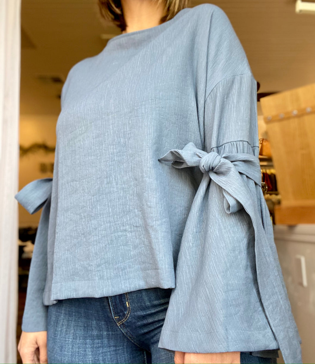 Clover Blue Tie Open Back Top