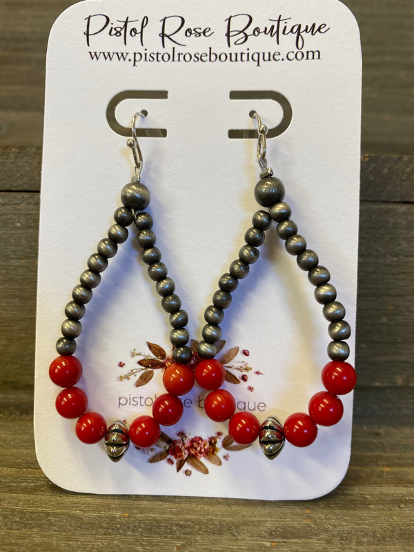 Coral Red Stone Navajo Earrings
