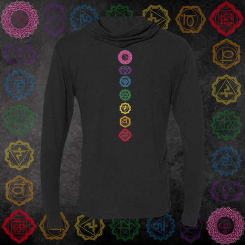 *Seven Chakra* Long Sleeve Tee Hooded
