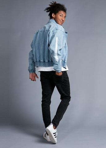 Boys Denim 80's Elasticated Bomber Jacket
