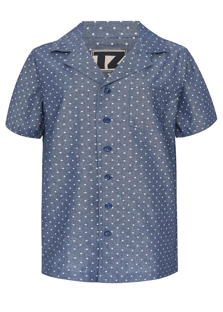 Boys Blue Short Sleeve Cabana Shirt-TeenzShop