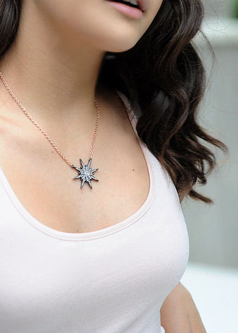 Girls Gold Starburst Necklace-Model