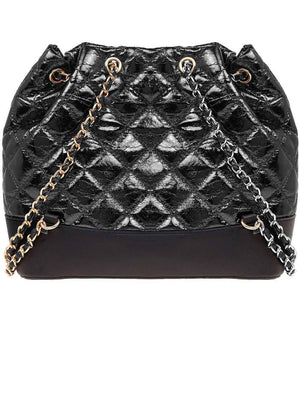 TeenzShop Black Quilted Faux Leather Mini Backpack With Chain Straps