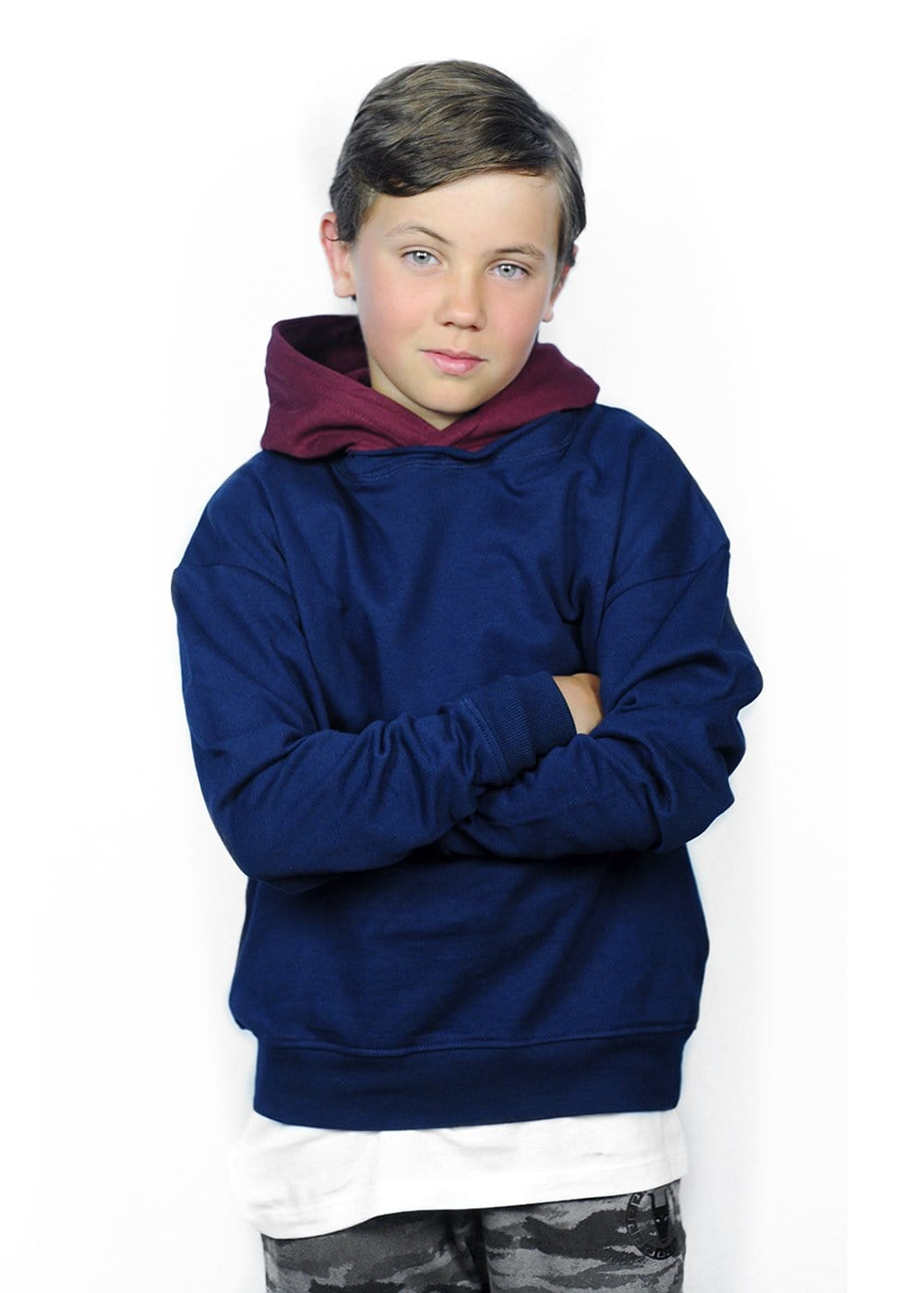 Youth Boys Navy Burgundy Nathaniel Hoodie Model