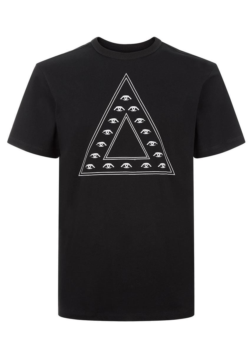 Boys Black Illuminati Triangle Graphic T-Shirt - Front
