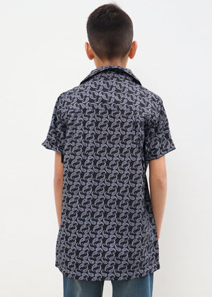 TeenzShop Youth Boys Paisley Short Sleeve Cabana Shirt- SUSTAINABLE FABRIC
