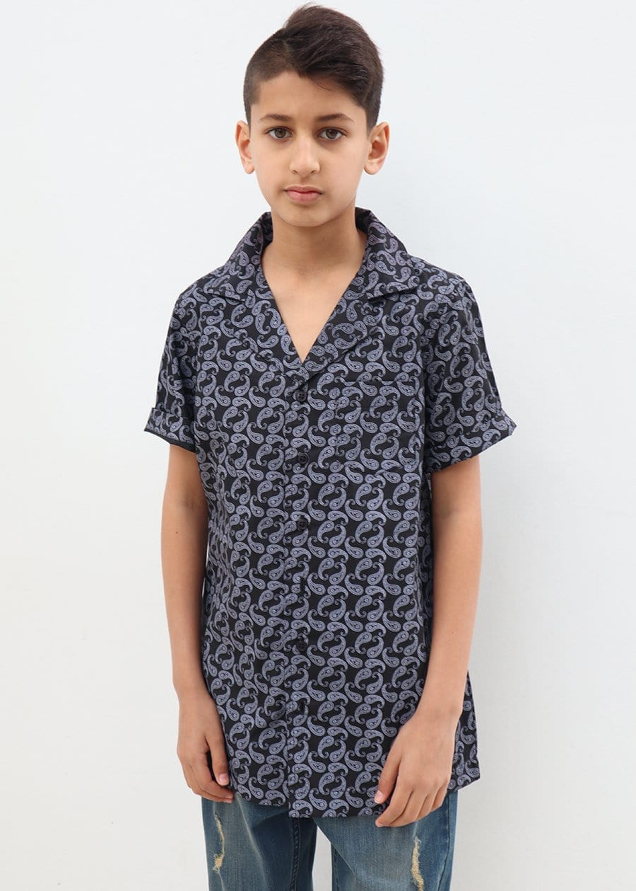 Boys Paisley Short Sleeve Cabana Shirt-TeenzShop
