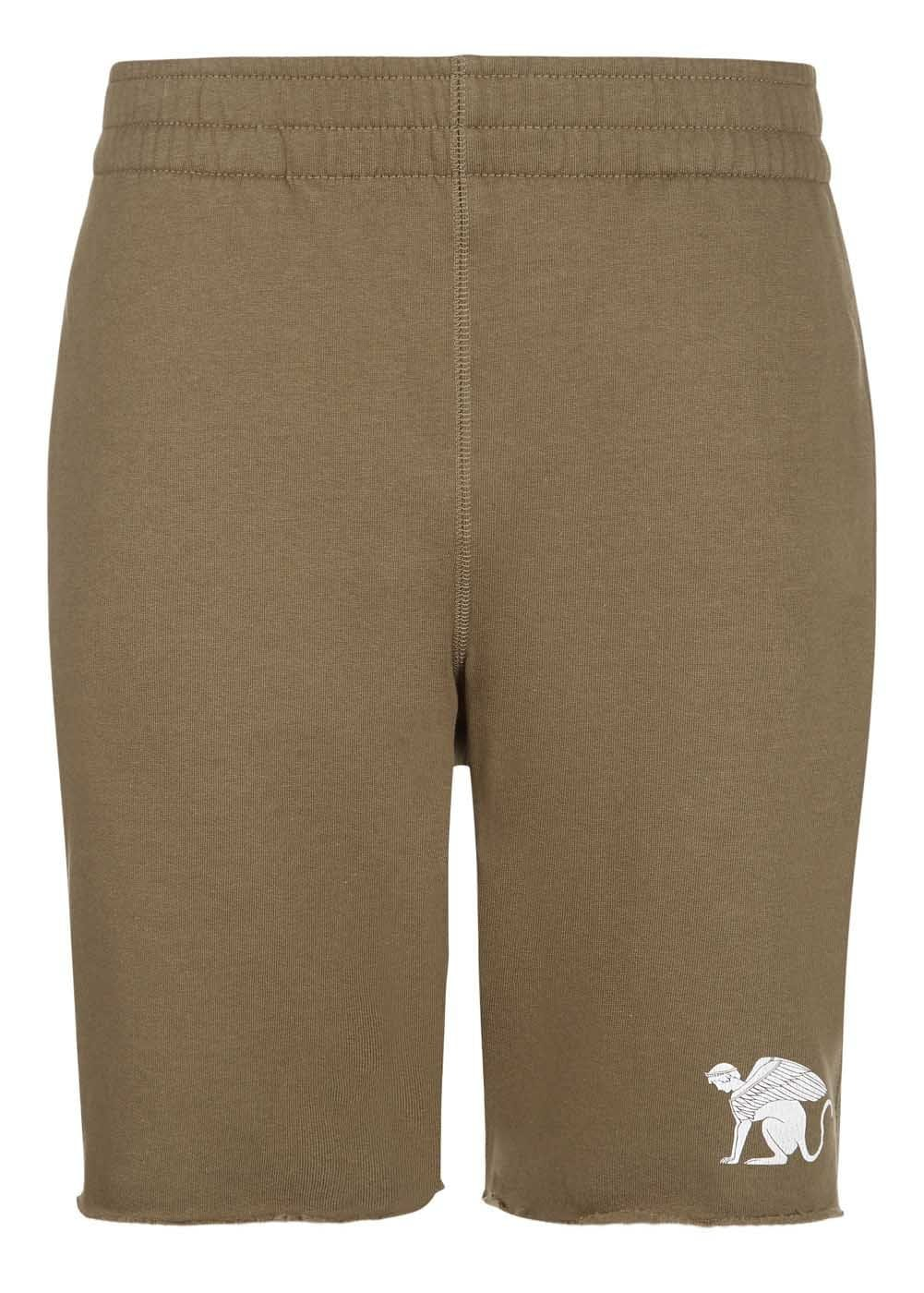 Boys Mocha Sweat Shorts With Logo-Front
