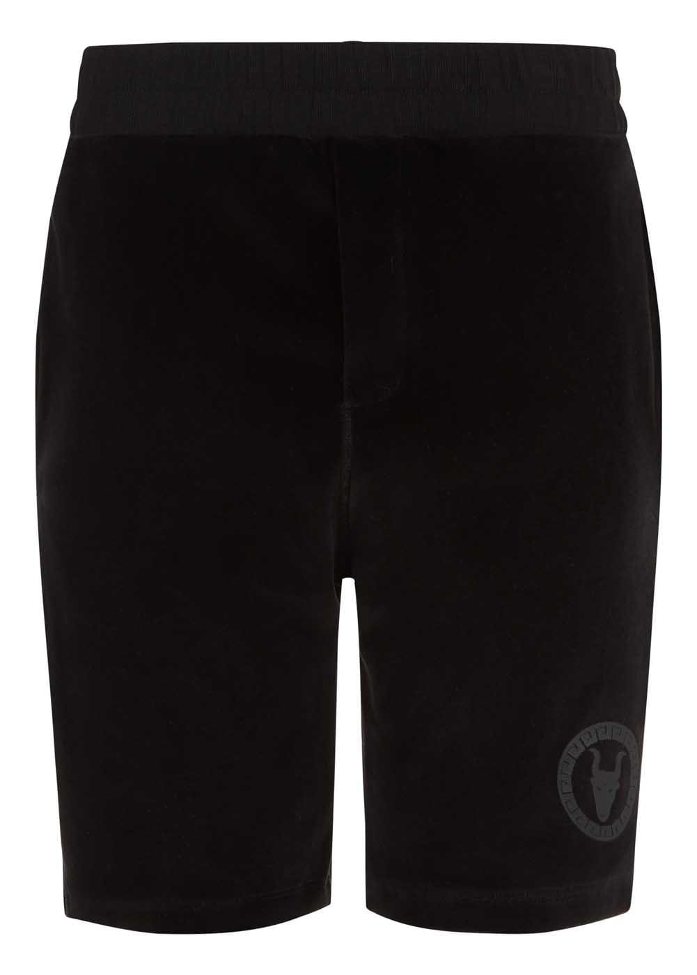 Boys Black Velour Shorts-Front