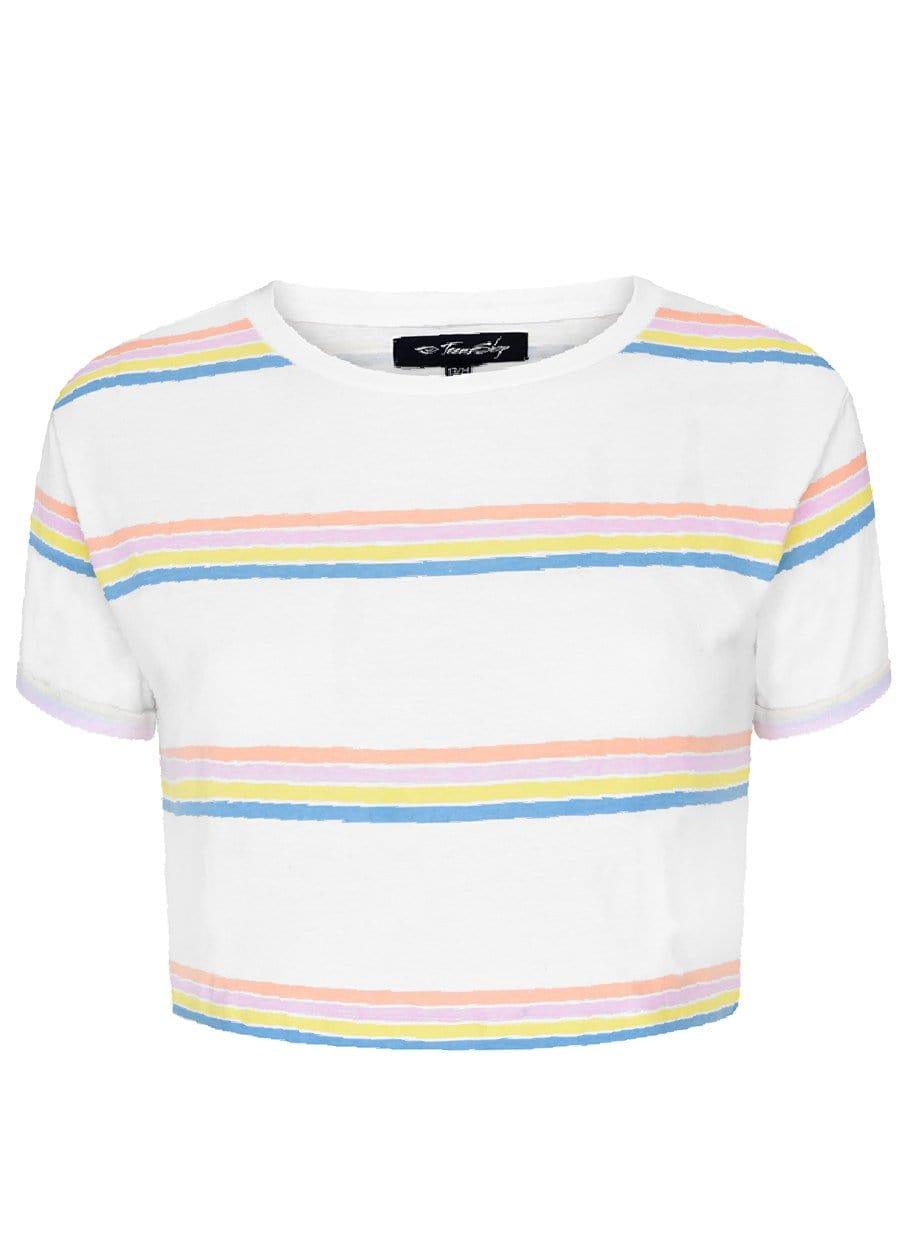 Girls Candy Stripe Cropped T-Shirt-TeenzShop