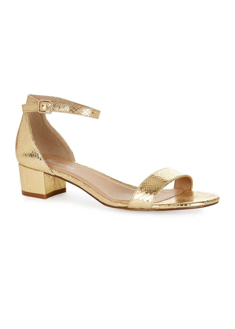 Girls Gold Small Block Heel Sandal - Top