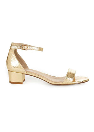 Girls Gold Small Block Heel Sandal-Side
