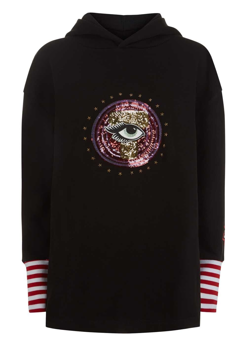 Girls Black Long Sequin Eye Hoodie - Front