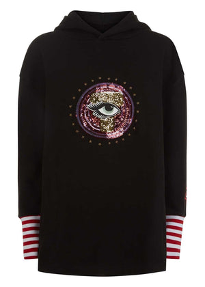 Teenzshop Youth Girls Black Longline Sequin Eye Hoodie