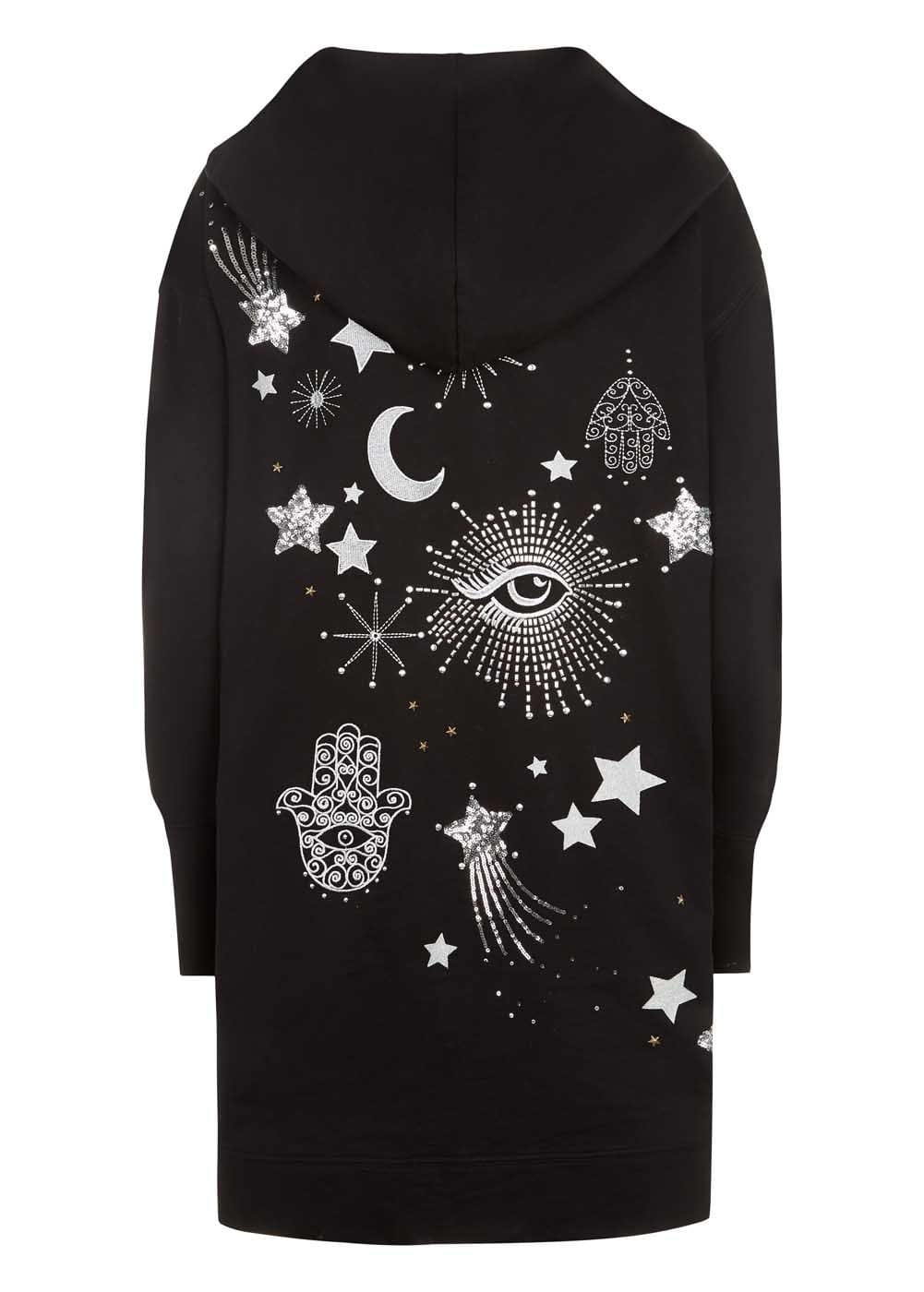 Girls Black Longline Embellished Hoodie - Back