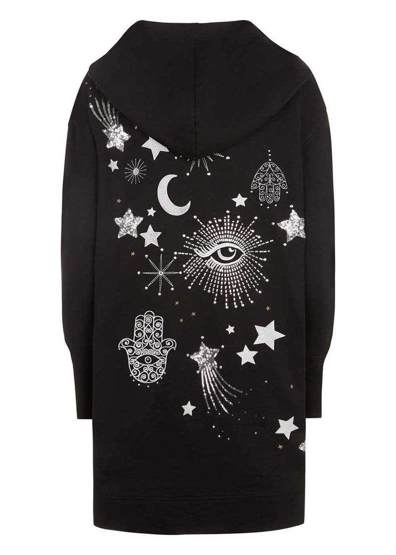 Teenzshop Youth Girls Silver Sequin Galactic Embellished Hoodie