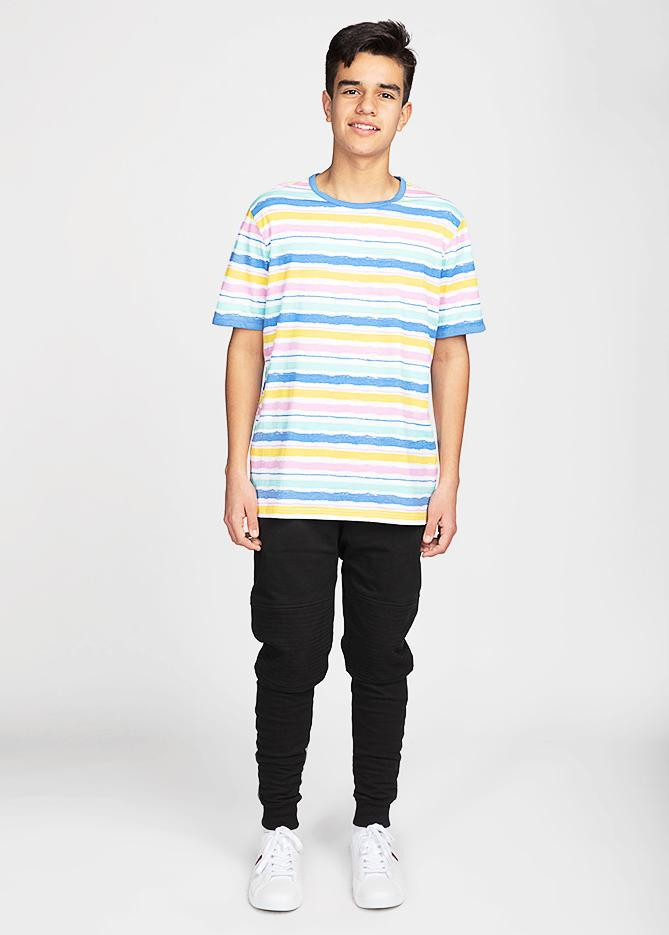 Boys Short Sleeve Multi Colour Striped T-Shirt-TeenzShop