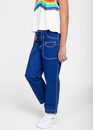 Girls Royal Blue Contrast Stitch Skater Trouser-TeenzShop