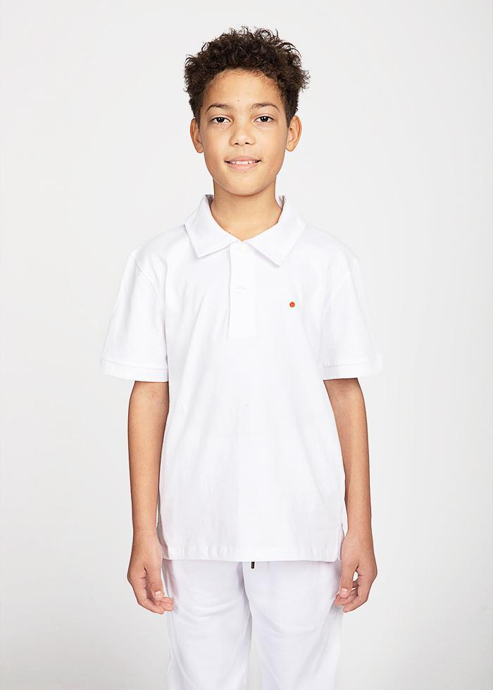 Boys White and Black Short Sleeve Security Polo Shirt-TeenzShop