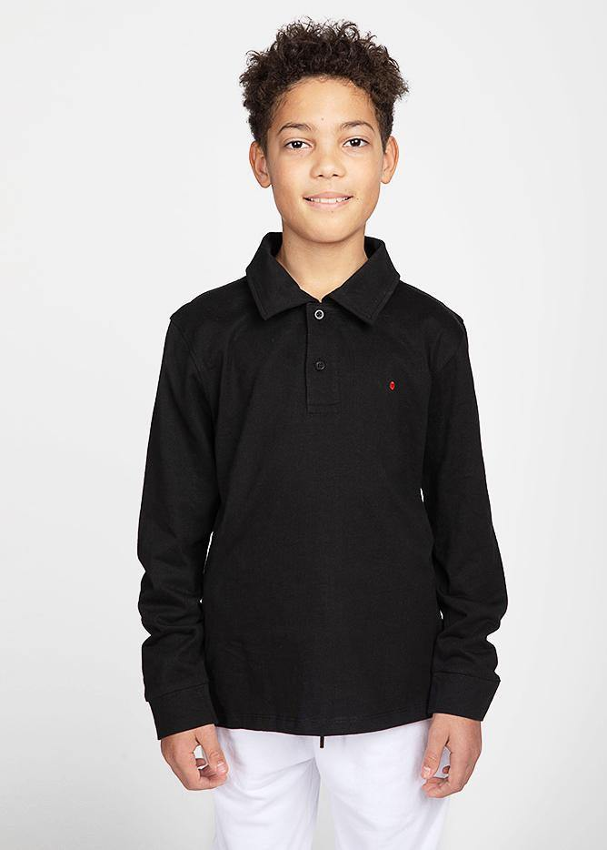 Boys Black and Yellow Long-Sleeve Security Polo Shirt-TeenzShop