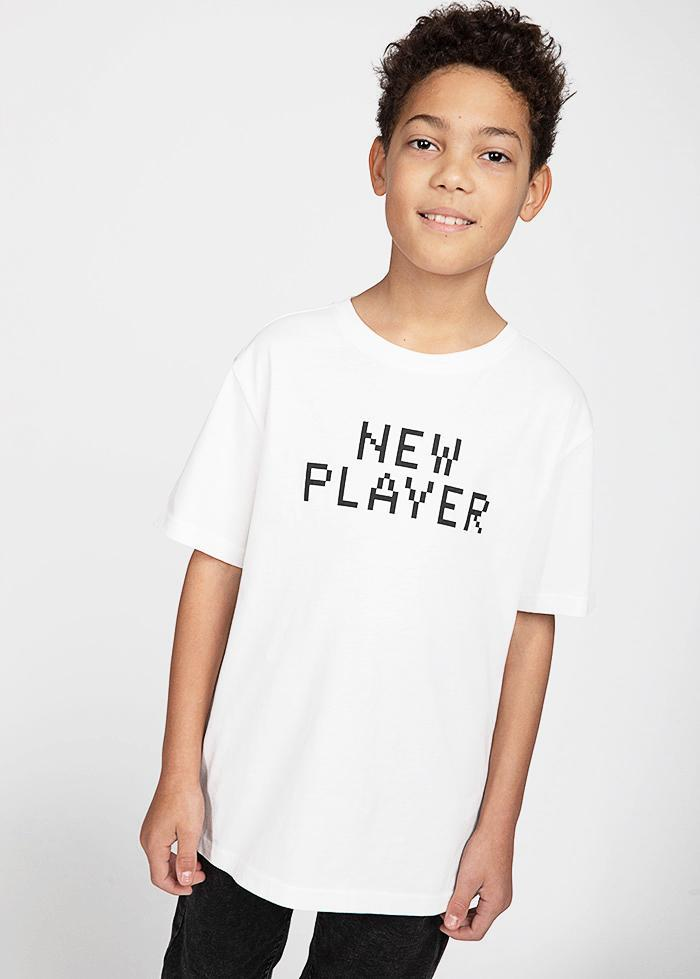 Boys White New Player T-shirt-TeenzShop