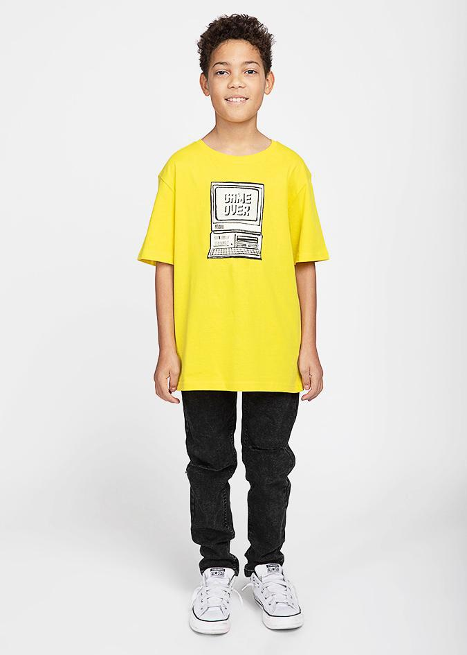 Boys Yellow Retro Computer T-shirt-TeenzShop